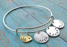 Mama Bird Hand Stamped Bangle Bracelet | Jane
