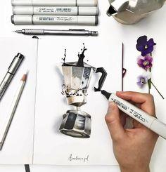 """Marker copic illustration rotuladores 2,668 Likes, 26 Comments - Leuchtturm1917Ru (@leuchtturm1917ru) on Instagram: """"from @anastasia.pd -  Пить и рисовать кофе и все, что с ним связно - рай для любителей этого…"""""""