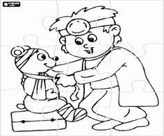 Colorear Rompecabezas veterinario con oso