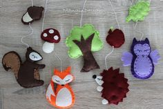 SALE!!! woodland cot mobile decorations felt animal decorations woodland creatures  owl hedgehog fox squirrel baby mobile music box cot arm