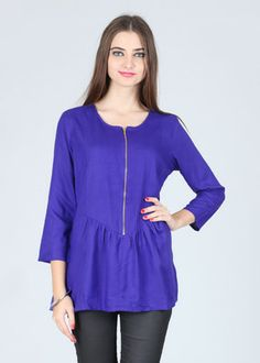 Buy Elle Solid Women's Tunic... Stylish front-buttoned wear... good for nursing mothers.
