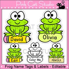 Frog Theme Classroom Editable Name Tags and Labels: This set is so versatile because you can make any labels that you want with the included blank labels and editable Powerpoint file. These would make great bin or basket labels, job cards, flash cards and of course name tags. By Pink Cat Studio.