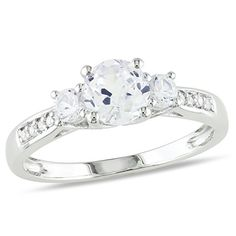 10 Karat Weißgold Ring mit 1,33 Karat weißen Saphiren und Diamanten (0,005 Ka,,,