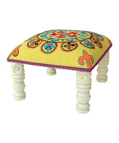 Look at this #zulilyfind! Yellow & Teal Footstool by Karma Living #zulilyfinds