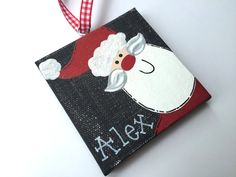 Personalized Hand Painted Santa ornament by threedoodlebugs