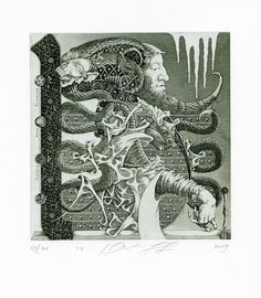 Surrealistic Ex libris Etching by Yuri Jakovenko