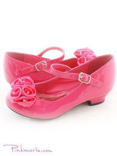 White ballerina style flower girl shoes girls shoes pinterest fushia roses ornamental flower girl shoes mightylinksfo Choice Image