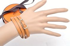 Hermes Brown Leather 4 Wrap Women's Bracelet
