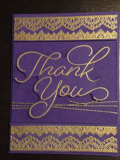 Thank You Card - Stampin' Up Stamps:  So Very Much, Delicate Details - Versamark Ink - Ranger Super Fine Gold Embossing Powder - Stampin' Up Gold Bakers Twine - Bazzill Jelly Bean Cardstock - Inspiration:  http://sarahriouscrafts.blogspot.com/2017/02/thank-you-card-and-puppies.html