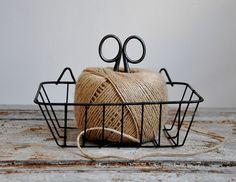 ~ vintage wire basket, twine & scissors ...