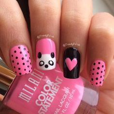 This time I'll be doing a tutorial on how to do panda nail art. Cute & Easy Panda Nail Art Tutorial You will need these polishes. Animal Nail Designs, Girls Nail Designs, Animal Nail Art, Simple Nail Designs, Nail Art Designs, Panda Nail Art, Kawaii Nail Art, Cute Nail Art, Little Girl Nails