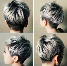 Silver and Black Pixie Hair