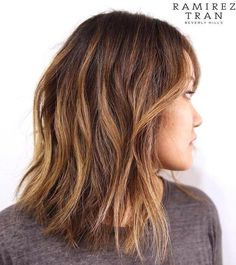 Long Brown Choppy Bob With Balayage