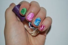 how to make marbled nail polish... love dollar store crafts!