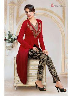 Red/Black Georgette Plazo Salwar Suit - Ftrendy Online Services - 1