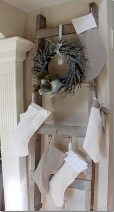 Christmas Ladder - Wonderful idea for hanging stockings if you don't have a mantel. I think I have a new Honey Do. :-)