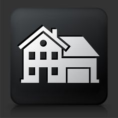 Black Square Button with Home Icon vector art illustration