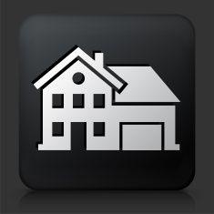 Black Square Button with Home Icon vector art illustration
