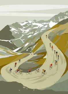Illustration – Eliza Southwood – Illustrator – Famous Last Words Bike Illustration, Retro Illustrations, Bike Poster, Cycling Art, Cycling Quotes, Cycling Jerseys, Cycling News, Road Cycling, Bicycle Art