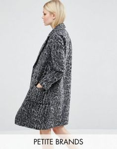 New Look Petite Dark Leopard Print Over Coat