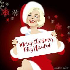 Artwork by Alejandro Mogollo. Christmas Love, Christmas Images, Vintage Christmas, Merry Christmas, Xmas, Christmas Artwork, Christmas Messages, Marilyn Monroe Wallpaper, Marilyn Monroe Quotes