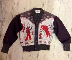 40s quality western motif cardigan Fashion Now, Mod Fashion, Vintage Fashion, Vintage Western Wear, Vintage Cowgirl, Cowichan Sweater, Cowboy Outfits, Rockabilly Outfits, Western Shirts
