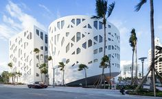 OMA has completed a shopping centre and an automated car park at a new cultural district in Miami Beach, which join the firm's recently unveiled Faena Forum Rem Koolhaas, Miami City, Unique Buildings, Cultural Center, Facade Design, Miami Beach, Miami Florida, Modern Architecture, Exterior