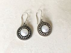Silver white freshwater pearl dangle earrings - pearl jewelry for women - Valentine's gift for women by Bravojewelry on Etsy