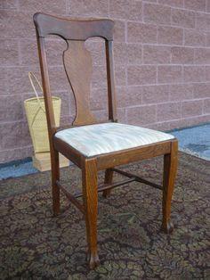 Antique Quarter Sawn Oak Paw Foot Lyre Splat T Back Vanity Desk Chair SturdyAntique Quarter Sawn T Back Tiger Oak Dining Chairs Set Original  . Antique Quarter Sawn Oak Dining Table And Chairs. Home Design Ideas