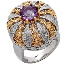 amethyst and diamond sterling silver and gold plate two tone ring from the Kohinoor Diamond Collection, inspired by Queen Elizabeth's crown, which is where the real Kohinoor Diamond is set.