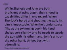 because one was in the army, the other a civilian. John is used to the adrenaline, where Sherlock isn't. <<John craves that adrenaline of action Sherlock craves the adrenaline of mystery. Sherlock Holmes Bbc, Sherlock Fandom, Sherlock John, Moriarty, Martin Freeman, Benedict Cumberbatch, Johnlock, Destiel, Mrs Hudson