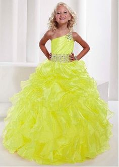 Cute One Shoulder Organza Yellow Ball Gown Girls Pageant Dress B3ty0007