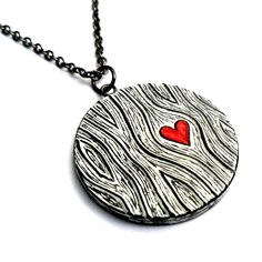 Valentine's Day- Black and White Wood Grain Faux Bois Necklace with a Red Heart Necklace - Wood You Love Me
