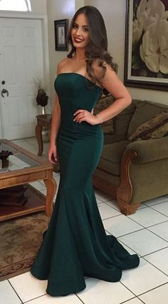 Mermaid Dark Green Strapless Sleeveless Sweep Train Prom Dress prom,prom dresses,prom dress,long prom dress