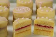 Stephanie Jaworski of . demonstrates how to make Petit Fours. For this recipe we're making Petit Fours Glacé as they consist of three layers of almond cake that are filled w. Food Cakes, Tea Cakes, Mini Cakes, Cupcakes, Cake Cookies, Cupcake Cakes, Cake Recipes, Dessert Recipes, Baking Recipes