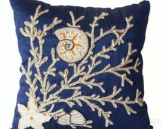Amore Beaute Decorative Pillow Case-nautical Oceanic Pillow Cover-navy Blue Throw Pillow Cover with Tan Burlap Dori Embroidery- Handcrafted Pillows- Modern Home Decor-gift * You can get additional details at the image link. (This is an affiliate link) Navy Blue Throw Pillows, Navy Blue Cushions, Blue Pillow Cases, Blue Cushion Covers, Coral Pillows, Nautical Pillows, Decorative Pillow Cases, Pillow Covers, Toss Pillows