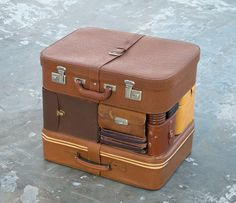 Michael Johansson  Another Time Another Place, 2012  Suitcases, bags, boxes.  Dimensions: 0.6 x 0.5 x 0.4 m.