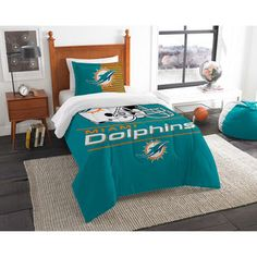 157106f88 Miami Dolphins The Northwest Company NFL Draft Twin Comforter Set Ice  Hockey
