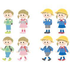 フリーイラスト, ベクター画像, AI, 人物, 子供, 女の子, 男の子, 学生(生徒), 小学生, 学校, 学生服, 通学帽(通園帽)