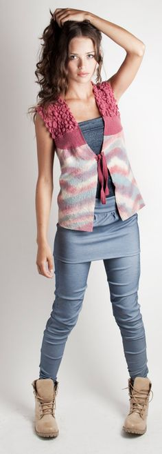 Shabby chic Felted Vest pastel colours hand dyed by texturable, $118.00