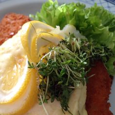 Danish open sandwich of rye bread with fried fish - you've never had fish and chips just quite this way!