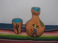 VINTAGE 1930'S BRAYTON'S LAGUNA POTTERY PITCHER & CUP MEXICAN DESERT DESIGN…