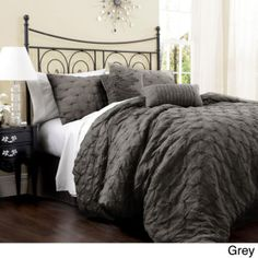 BEAUTIFUL MODERN CHIC ELEGANT GREY PLEATED TEXTURED COMFORTER SET KING SIZE NEW