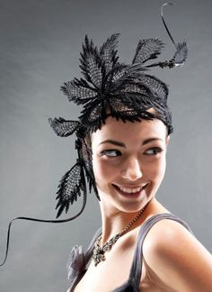 GLAMOROUS LACE HEADPIECE  BY HAT ACADEMY  #millinery #hats #HatAcademy