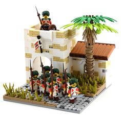 A free build for Brethren of the Brick Seas showing East Terran Trade Company Sepoys patroling the streets of the settlement of Jameston. Full credit for the palm tree trunk technique from here although I need to work on the leaves - mine look terrible!