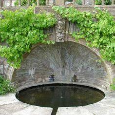 Green man water feature designed by Edwin Lutyens - in Hestercombe Garden