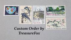 Reserved Custom Order for Melissa. Unused Vintage US Postage Stamps for mailing wedding invitations by TreasureFox on Etsy