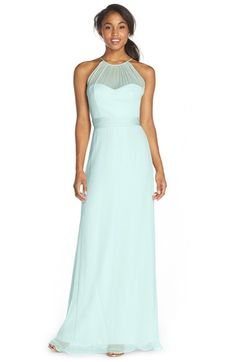 Free shipping and returns on Amsale Illusion Yoke Silk Chiffon Halter Style Gown at Nordstrom.com. Lovely in its simplicity, this beautiful chiffon gown offers timeless appeal from its gathered illusion yoke to its floor-grazing hem. A sweetheart neckline and defined waist enhance feminine curves, while the flowing A-line skirt is universally flattering.