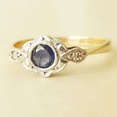 Art Deco Diamond, Sapphire, Platinum and 9k Gold Engagement Ring, Approx. Size US 7.5