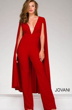 Jovani 46031 Red V Neck Jersey Cape Jumpsuit More For Sam's wedding buy in white Cape Jumpsuit, Fitted Jumpsuit, Sparkly Jumpsuit, Formal Jumpsuit, Cape Dress, Dress Red, Mode Cool, Fancy Skirts, Evening Dresses